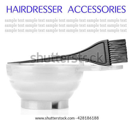 Bowl and brush for hair coloring, isolated on white - stock photo