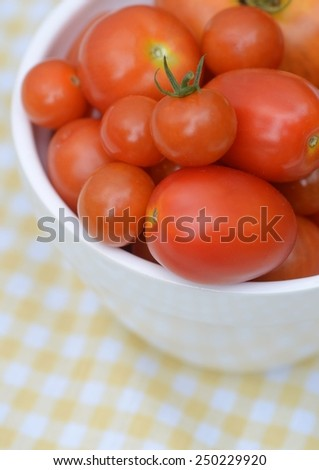 Bowl full of a variety of garden fresh red tomatoes - stock photo