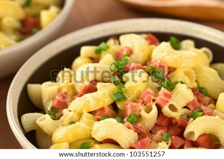 Bowl Full Of Fresh Homemade Elbow Macaroni Pasta With Sausage Pieces Grated Cheese And Green