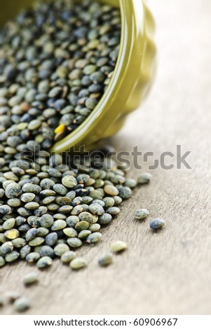 Bowl full of raw french green lentils