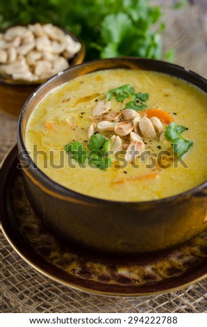 Bowl of african peanut soup