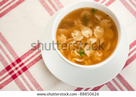 Bowl of beef soup with pasta