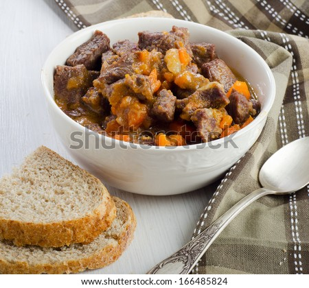 Bowl of beef stew. Selective focus