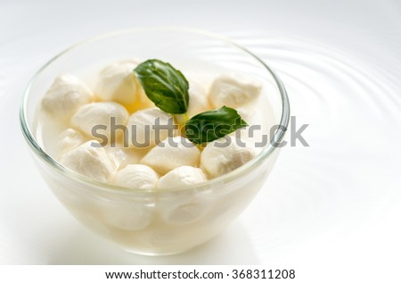 Bowl of Bocconcini mozzarella with fresh basil - stock photo