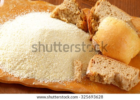 Bowl of bread crumbs - stock photo