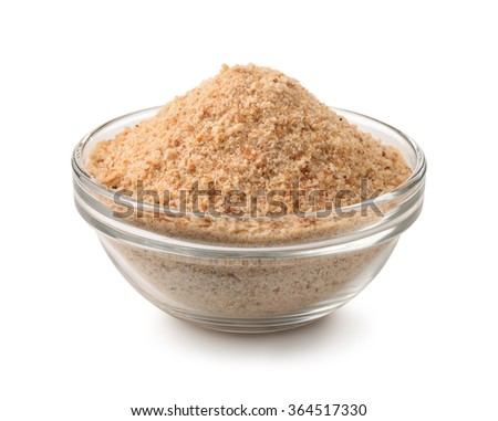 Bowl of breadcrumbs isolated on white - stock photo