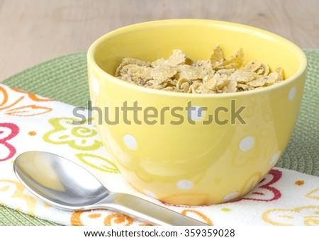 Bowl of breakfast flakes - stock photo
