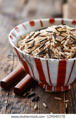 Bowl of brown and wild rice - stock photo