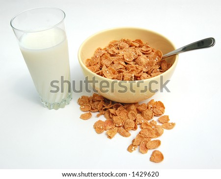 Bowl Of Cereal and Glass of Milk, Part Of Your Balanced Breakfast - stock photo