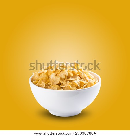Bowl of Cereal Corn Flakes - stock photo