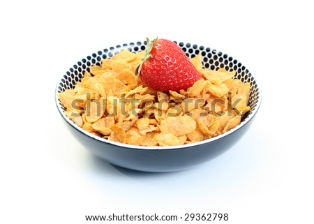 bowl of cereals and fresh strawberry isolated on white