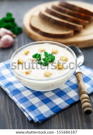 Bowl of cheese soup