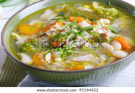 Bowl of Chicken vegetable Soup - stock photo