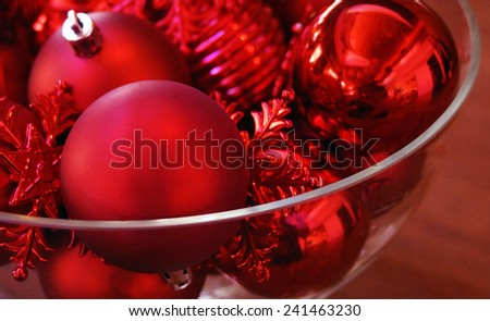 Bowl of Christmas Ornaments - stock photo