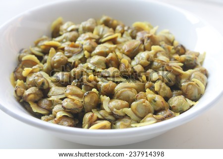 Bowl of Clam meat. - stock photo