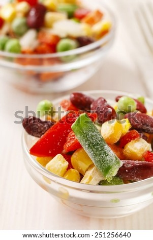 Bowl of colorful frozen vegetables - stock photo