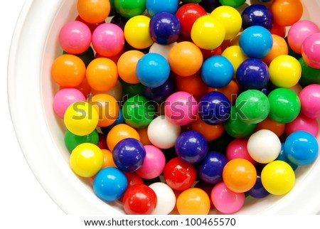Bowl of colorful gumballs - stock photo