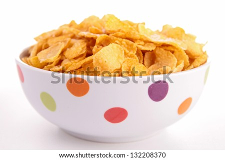 bowl of corn flakes cereal - stock photo