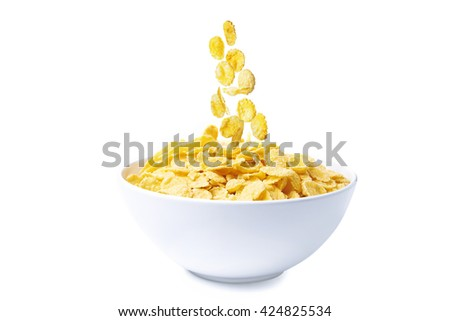 bowl of corn flakes isolated on white background