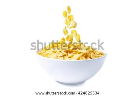 bowl of corn flakes isolated on white background - stock photo
