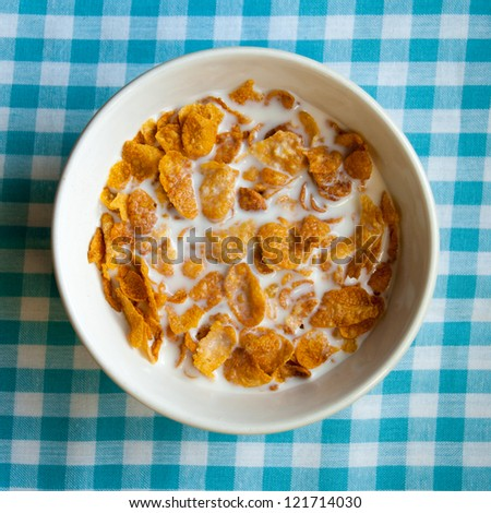 Bowl of cornflakes from above - stock photo