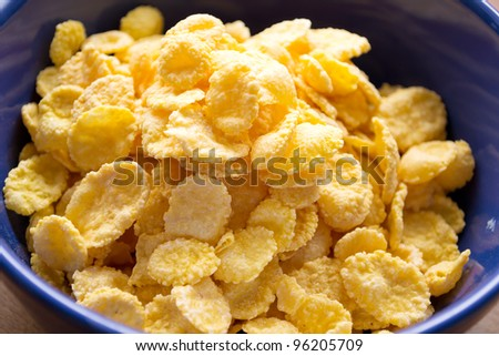 bowl of cornflakes on the table - stock photo