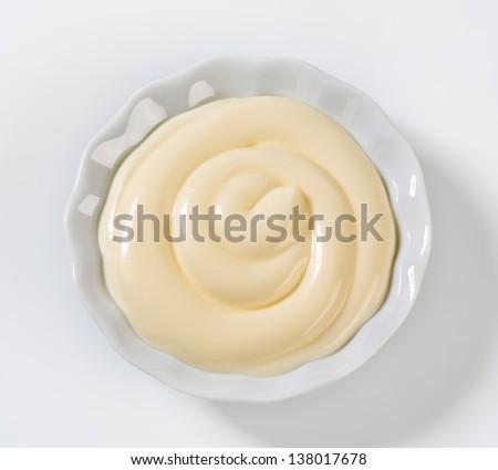 bowl of creamy mayonnaise  - stock photo