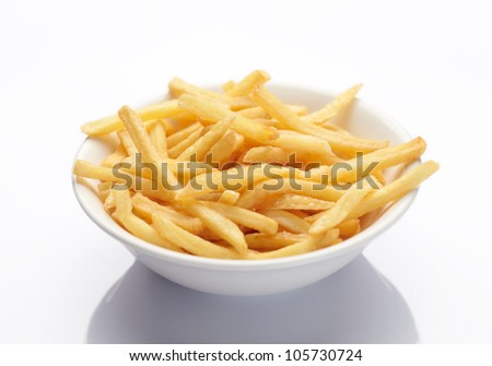 bowl of french fries on white - stock photo