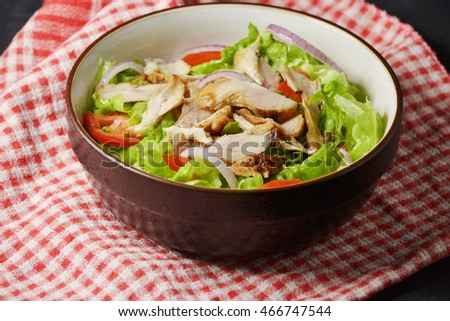 bowl of fresh and healthy chicken salad