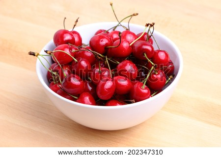 Bowl of fresh delicious red cherries