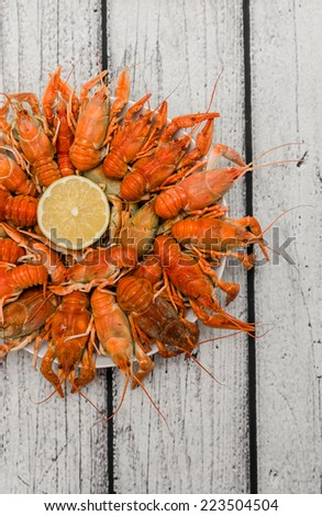 Bowl of fresh hot Boiled Crawfish Top View - stock photo
