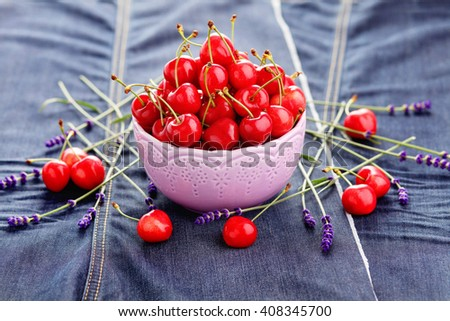 bowl of fresh red cherries - fruits and vegetables - stock photo