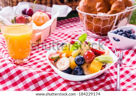 Bowl of fresh tropical fruit salad at a picnic served with a glass of orange juice, fresh fruit and croissants on a red and white checked tablecloth in summer sunshine - stock photo