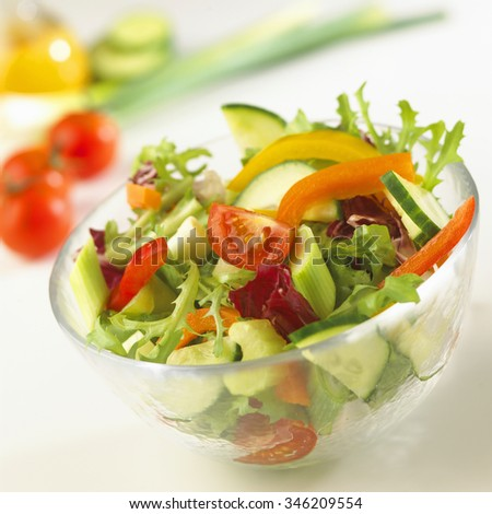 Bowl of freshly prepared mixed salad vegetables with ingredients on a kitchen counter behind. - stock photo
