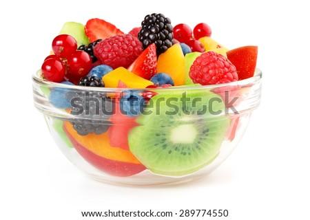 bowl of fruit salad isolated on white background - stock photo
