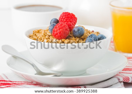 Bowl of granola with fresh raspberries and blueberries. - stock photo