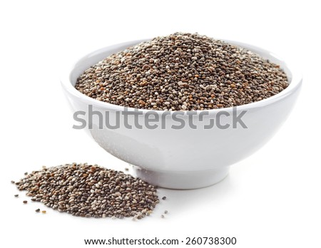 bowl of healthy chia seeds isolated on white - stock photo