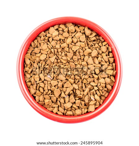 Bowl of instant coffee granules - stock photo