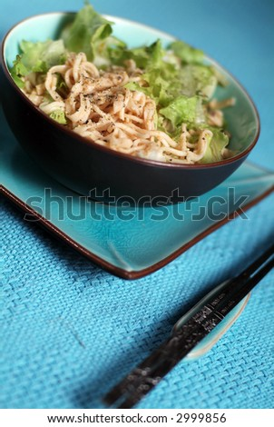Bowl of korean noodles - stock photo