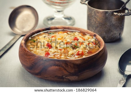 Bowl of minestrone soup with lentil - stock photo