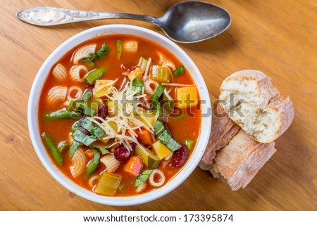 Bowl of Minestrone Soup with Pasta, Beans and Vegetables - stock photo
