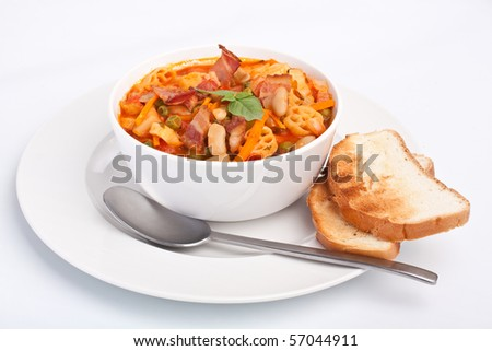 bowl of  minestrone with pasta - stock photo