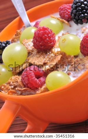 bowl of muesli with fruits
