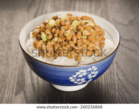 Bowl of Natto, a Japanese Dish of Fermented Soybeans - stock photo
