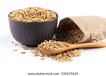bowl of organic oat grains isolated on white background