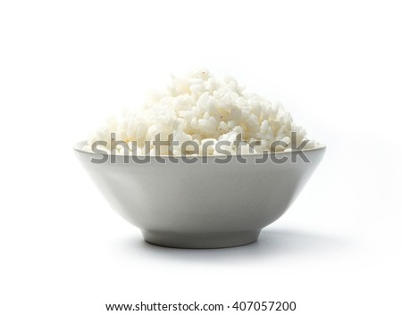 Bowl of organic white rice isolated on a white background with shadow