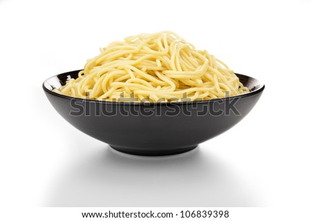 Bowl of Pasta on White Background - stock photo