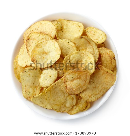 Bowl of potato chips isolated on white background - stock photo