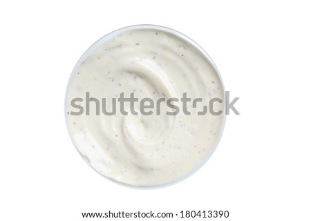 Bowl of ranch dip, cut out on white background - stock photo