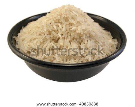 Bowl of Rice shot in a white background - stock photo